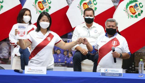 Keiko Fujimori y César Acuña encabezaron un evento en el que APP brindó su respaldo a Fuerza Popular. (Foto: APP)