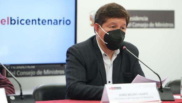 Guido Bellido ofreció el último miércoles su primera conferencia de prensa con los titulares de Economía y Salud. (Foto: Andina)