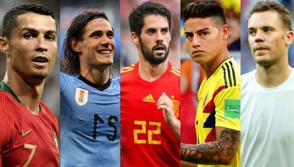 Cristiano Ronaldo, Edinson Cavani, Isco Alarcón, James Rodríguez, Manuel Neuer entre otros están en la lista de los más guapos, según la BBC. (Getty Images)
