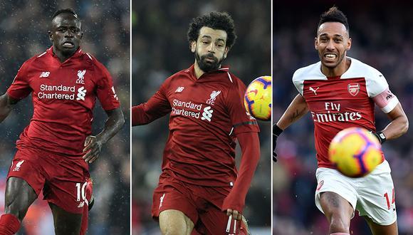 Sadio Mané, Mohamed Salah y Aubameyang son los candidatos finales al Balón de Oro de África. (Foto: AFP/AP/AFP)