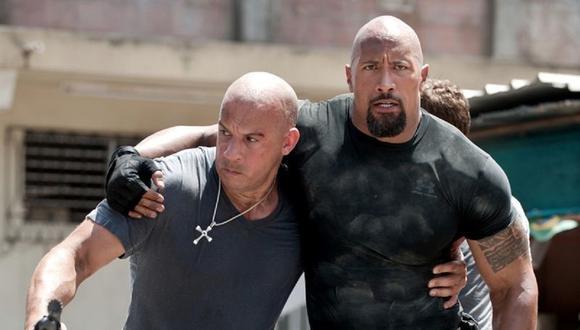 """Vin Diesel y """"La Roca"""" en escena de acción en """"Rápidos y Furisosos"""". (Foto: Universal Pictures)"""
