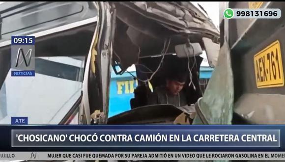 Los agentes de la Policía Nacional del Perú (PNP) llegaron al lugar para recabar información de los testigos y determinar la causa de accidente. (Foto: Captura Canal N)