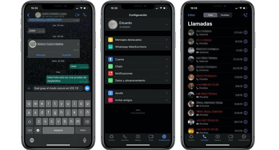 """¿Quieres saber en qué se diferencia el """"modo oscuro"""" de WhatsApp de un iPhone con un Android? (Foto: WhatsApp)"""