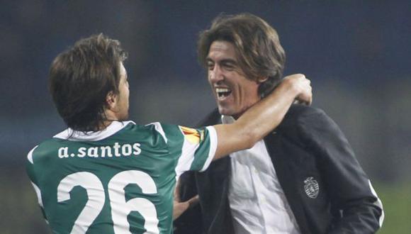 El festejo del DT Sa Pinto. (Reuters)