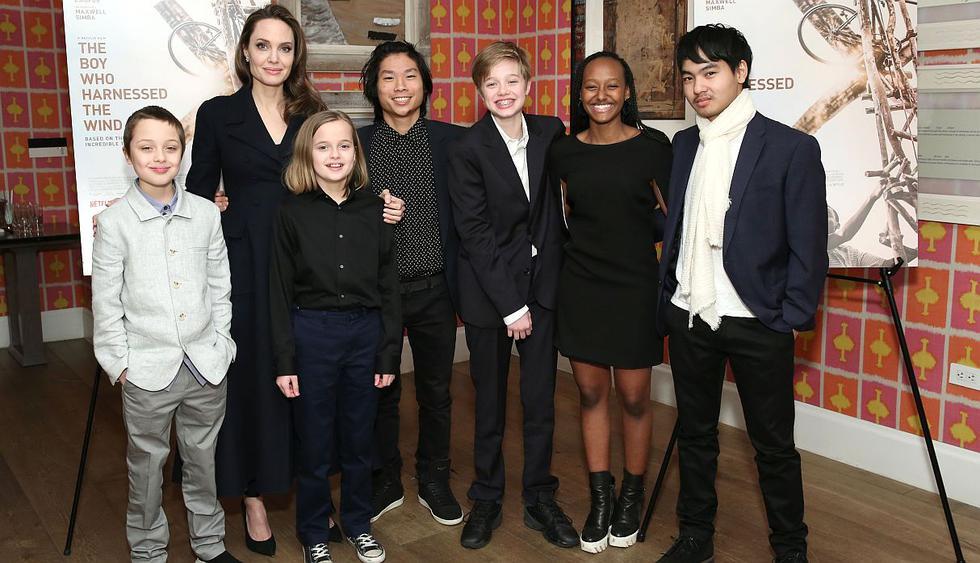 La actriz Angelina Jolie reapareció en la escena pública al lado de sus seis hijos con Brad Pitt. (Foto: AFP)