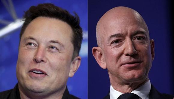 Musk, de 49 años, tiene alrededor del 20% de los títulos de la compañía de vehículos eléctricos. Bezos ha sido la persona más rica del mundo durante los tres últimos años, según el ránking de Forbes. (Fotos: AP / AFP)