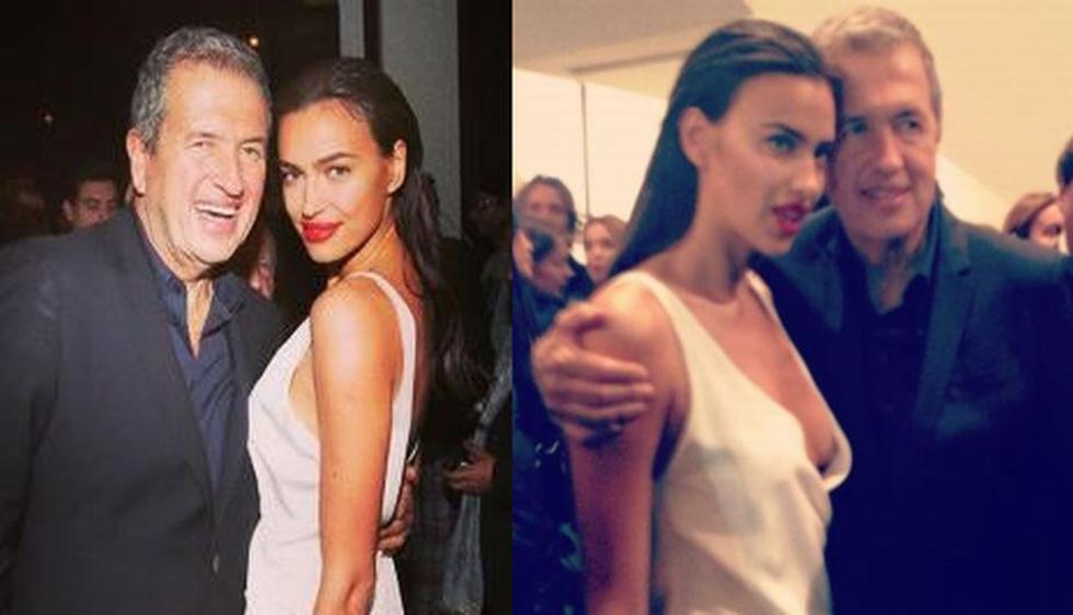 La novia de Cristiano Ronaldo posando junto a Testino. (Facebook Irina Shayk)