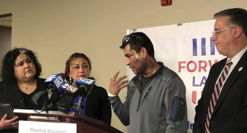 El peruano Mahud Villalaz, de 42 años, ofreció declaraciones a la prensa tras el ataque que recibió. (Sophie Carson / Milwaukee Journal-Sentinel a través de AP).