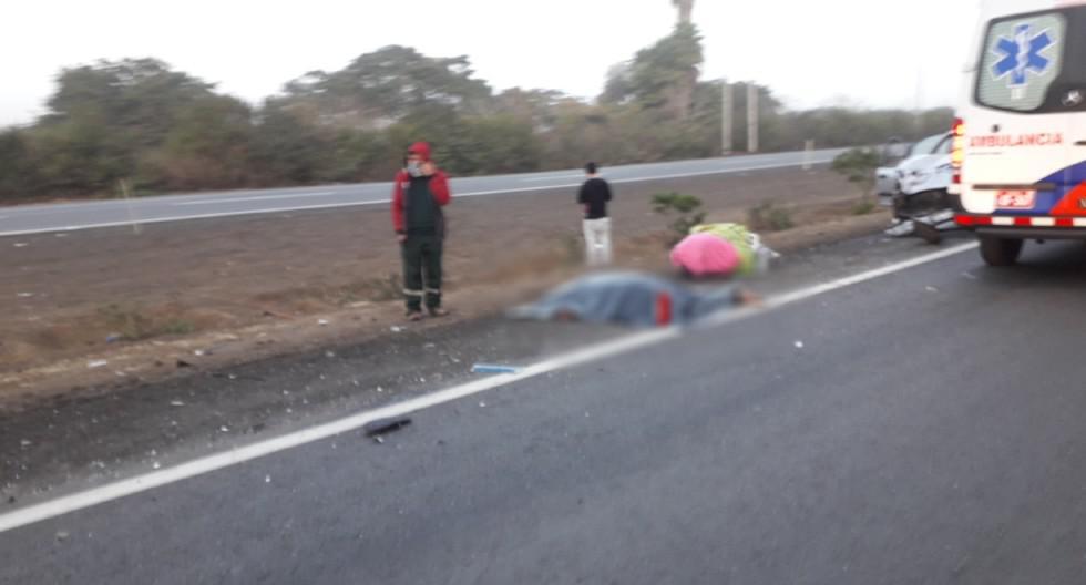 Cañete: Choque entre automóvil y mototaxi dejó dos personas fallecidas en el Km. 73 de la carretera Panamericana Sur. (Foto: Fernando Zavala)