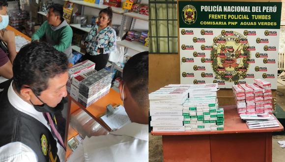 Agentes de la Policía Nacional incautó miles de cigarrillos de contrabando en Tumbes y Piura en diferentes operativos. (Foto PNP)