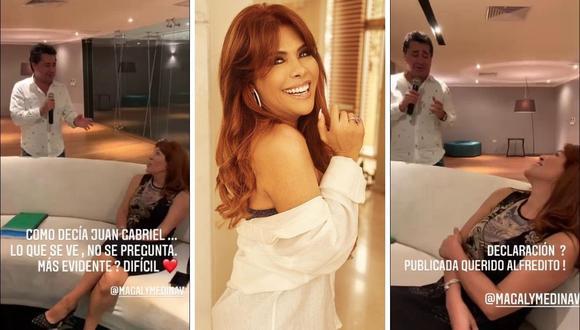 Magaly Medina responde a video donde se ve cómo Alfredo Zambrano le canta una romántica canción. (Foto: Instagram / @magalymedinav).