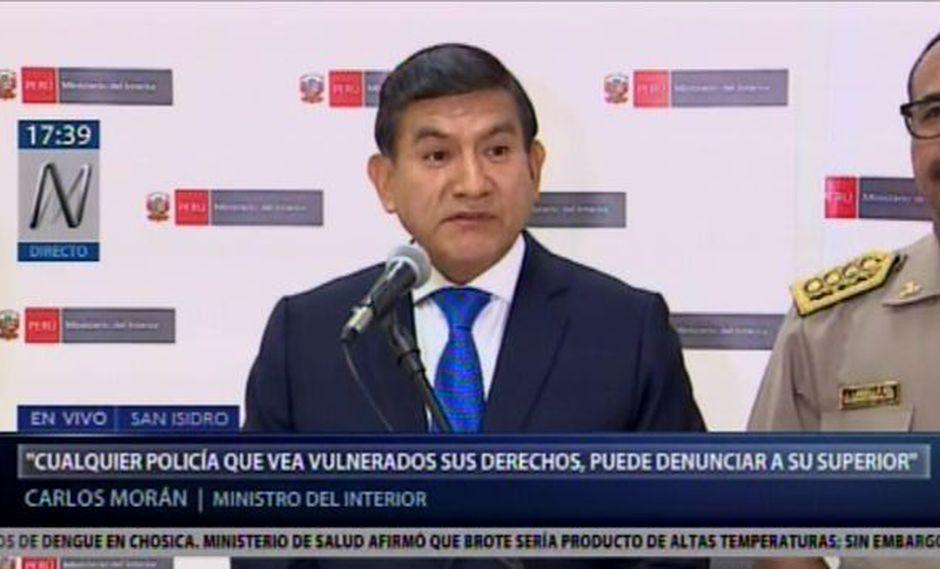 El ministro del Interior, Carlos Morán, detalló las medidas adoptadas ante la decisión del PJ de pronunciarse sobre las sanciones a las personas que agredan a policías. (Foto: Canal N)