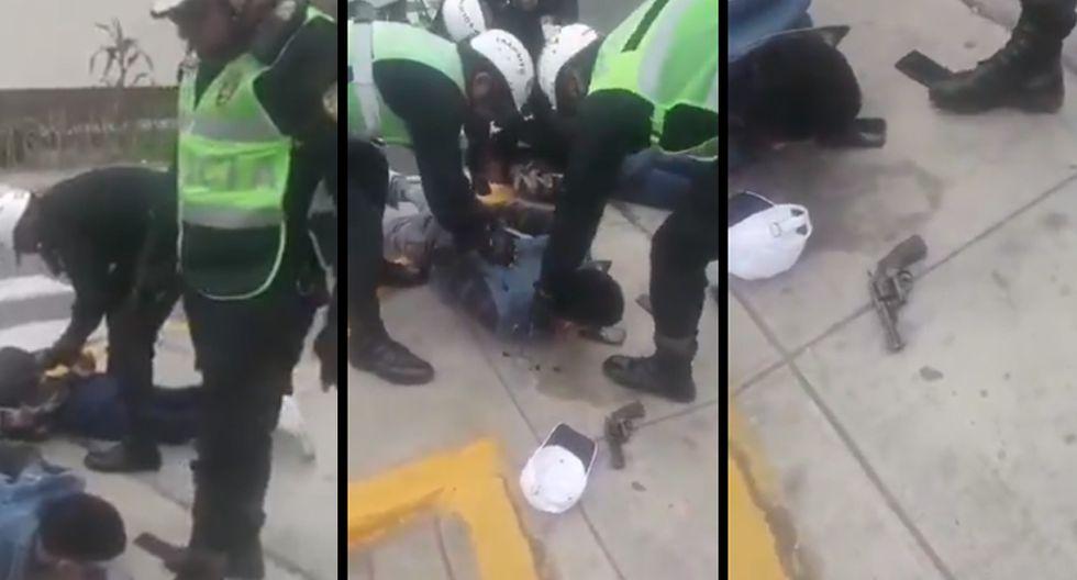 La Policía Nacional detuvo a dos sujetos en la intersección del Jr. Vista Alegre con la Av. Guardia Civil Norte, en el distrito de Surco. (Video: PNP)