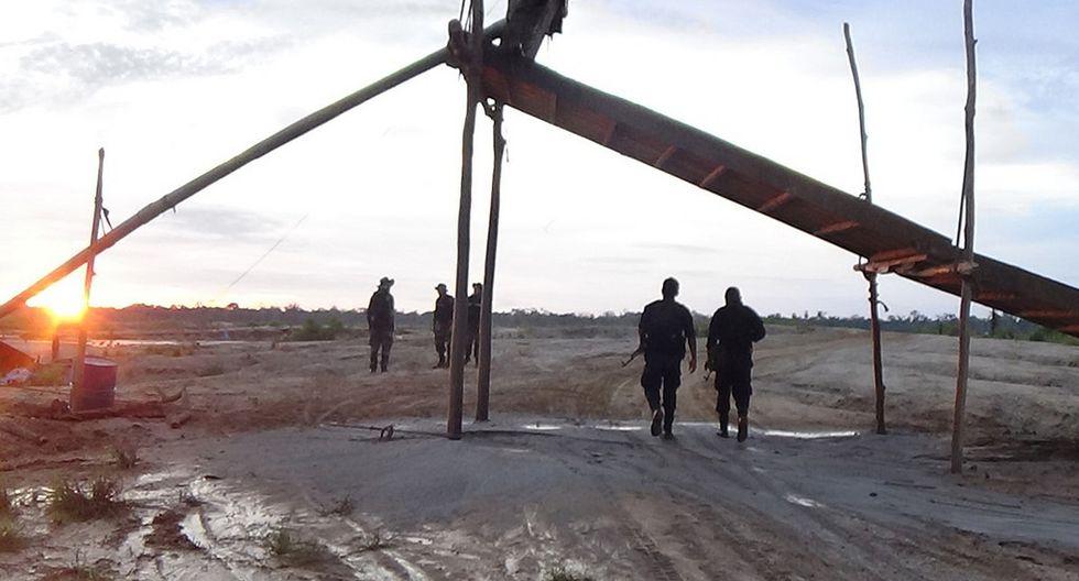 Destruyen material utilizado en la minería ilegal. (Ministerio del Interior)