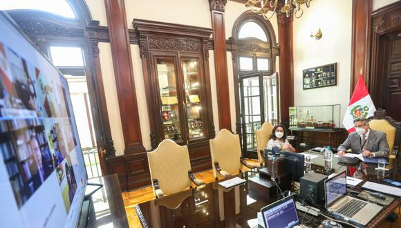 El presidente Francisco Sagasti durante la sesión del Consejo para la Reforma del Sistema de Justicia. (Foto: Presidencia)