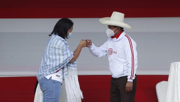 Keiko Fujimori y Pedro Castillo debatieron el sábado en la plaza de armas de Chota, Cajamarca. (Foto: Hugo Pérez / @photo.gec)