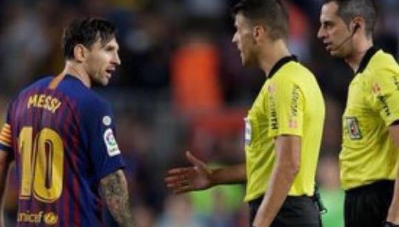 Lionel Messi quedó enfadado con la actuación del árbitro del Barcelona-Girona. (Captura: YouTube)