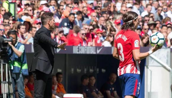 Diego Simeone recibe critica de su expupilo Filipe Luis (Foto: Imago)