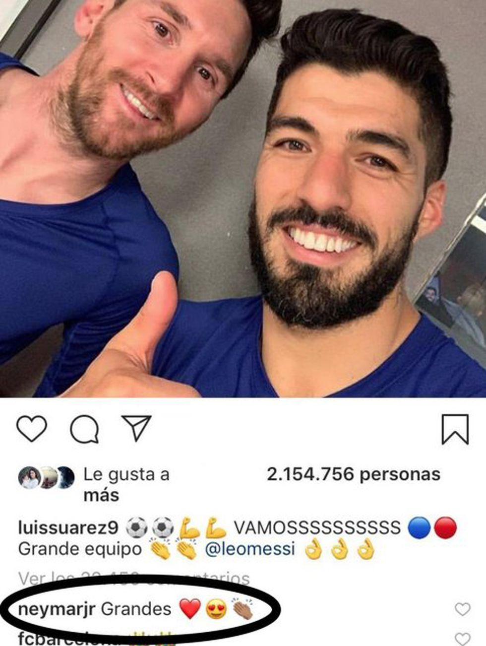 El comentario de Neymar en la publicación de Luis Suárez. (Foto: captura de Instagram)