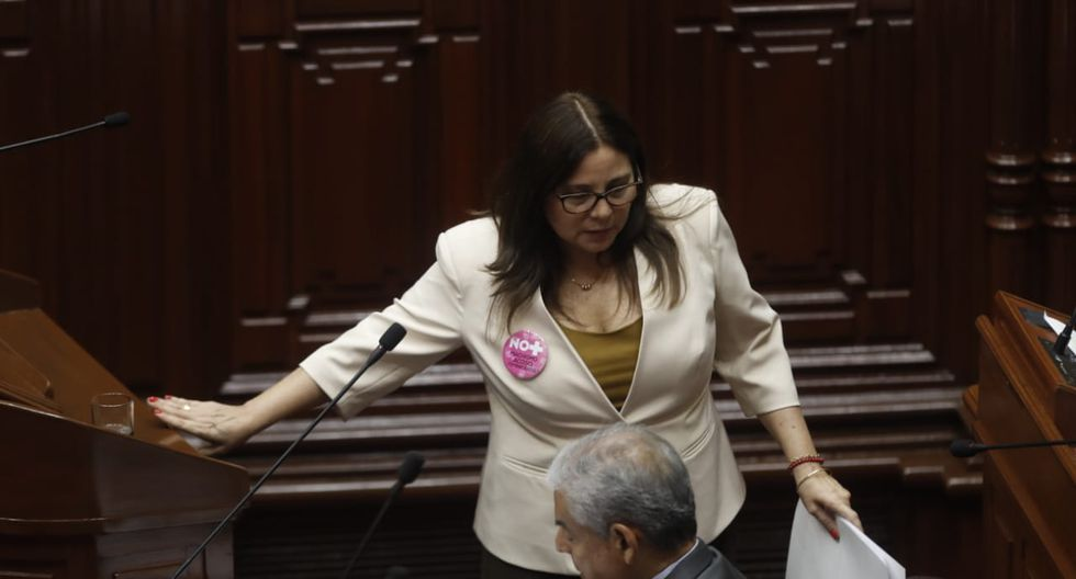 Congresistas usaron pines con mensajes de rechazo a la violencia contra la mujer. (César Campos/Perú21)