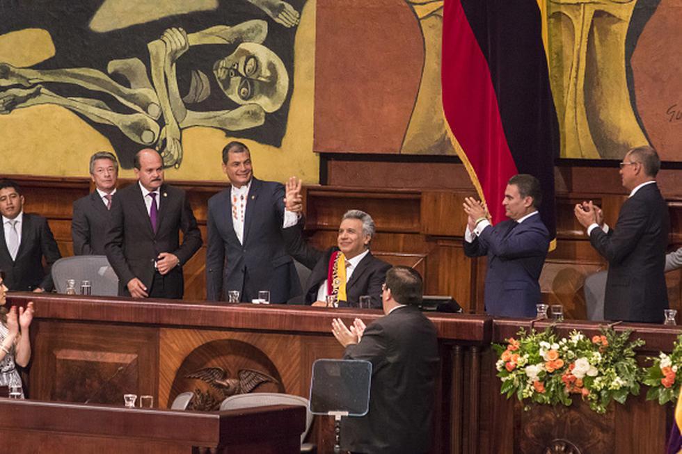Tras la posesión de Moreno como presidente, a quien promovió como su sucesor, Correa le acusa de orquestar un complot político en su contra. (Getty)