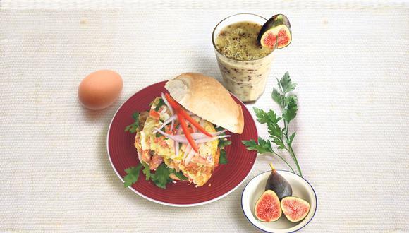 Tortilla de verduras y batido de avena de don cucho. (GEC)