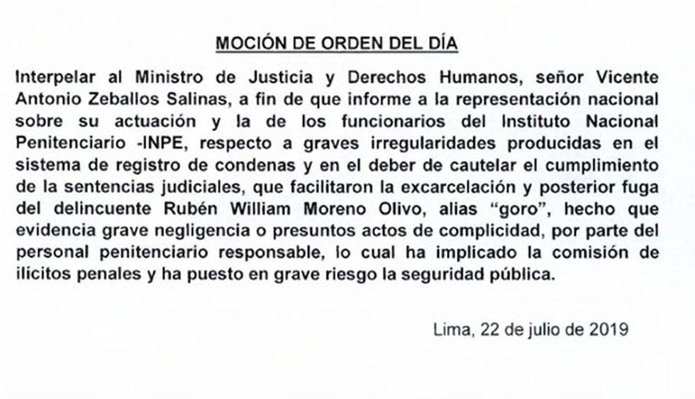 Moción para interpelar a Zeballos ingresó al Área de Trámite Documentario hoy lunes. (Foto: Difusión)
