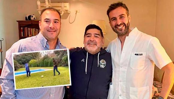 Diego Maradona perdió 11  kilos, pero ha recuperado la movilidad gracias a la ayuda de neurocirujano con el que juega  fútbol tenis.
