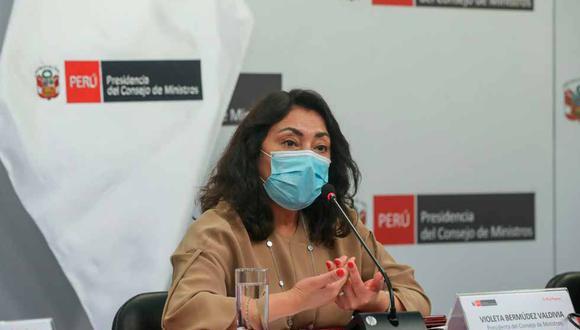 La presidenta del Consejo de Ministros, Violeta Bermúdez, indicó que han recogido las preocupaciones de diversos sectores respecto a las aglomeraciones generadas durante los mítines por la segunda vuelta. (Foto: PCM)