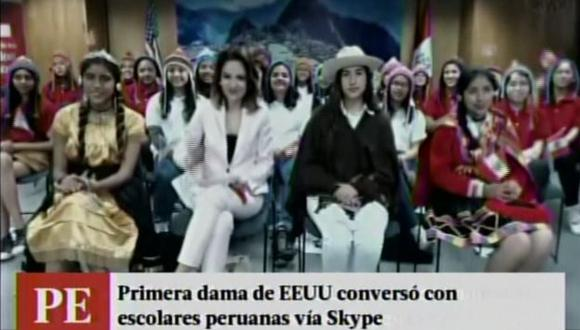 Niñas peruanas conversaron con Michelle Obama por Skype.
