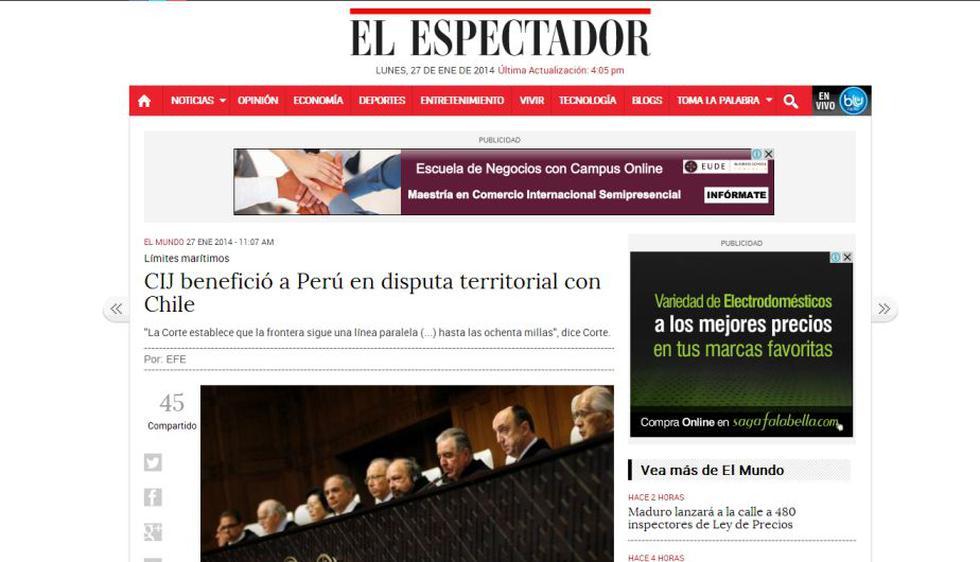 El Espectador de Colombia resaltó que Perú ganó la soberanía de mar que antes estaba bajo control de Chile.
