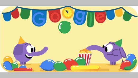 Este es el doodle que Google en todo el mundo para celebrar la Víspera de Año Nuevo 2018. (Foto: Google)