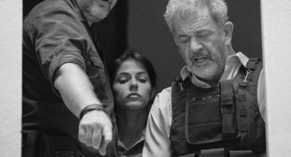 Stephanie Cayo grabando junto a Mel Gibson. (Foto: Instagram)