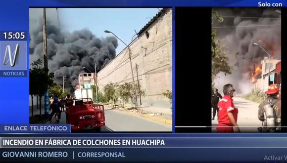 El incendio ocurre en un local ubicado en la calle Archipiélagos, en Huachipa. (Foto: Canal N)