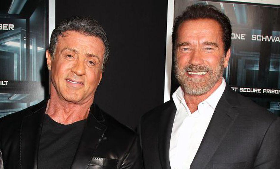 Sylvester Stallone y Arnold Schwarzenegger en el estreno de 'Plan de Escape' en Nueva York. (AP)