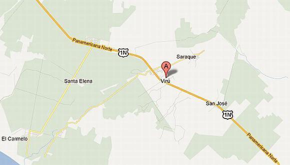 El atraco ocurrió en el kilómetro 440 de la Panamericana, en Virú. (G. Maps)