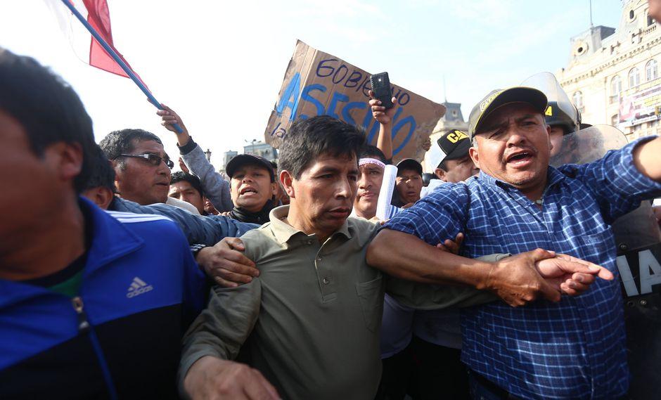 Pedro Castillo encabeza las huelgas de docentes. (Luis Centurión)