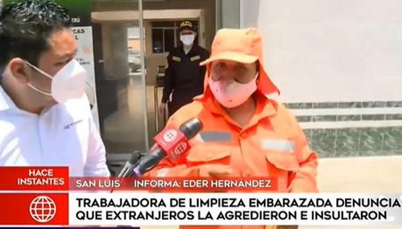 La víctima de la agresión, que tiene tres meses de gestación, señaló que el acto de violencia llegó de parte de una ciudadana extranjera, identificada como Angela Coromoto, de nacionalidad venezolana.  (Foto: Captura América Noticias)