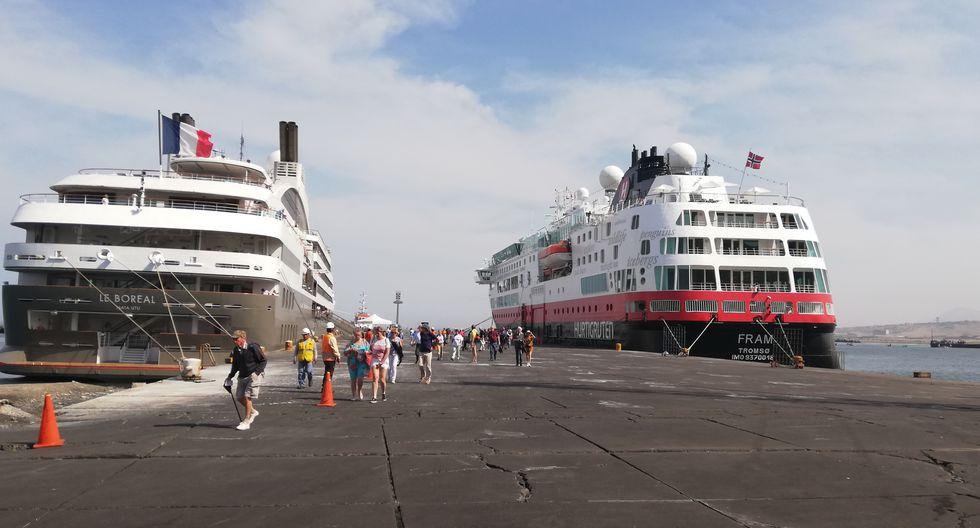 El Puerto de Salaverry recibió, por primera vez, tres cruceros en simultáneo el 27 de marzo, según informóSalaverry Terminal Internacional S.A.(Foto: Difusión)
