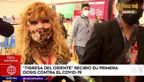 La Tigresa del Oriente feliz tras recibir primera dosis de vacuna contra el COVID-19. (Foto: captura de video)