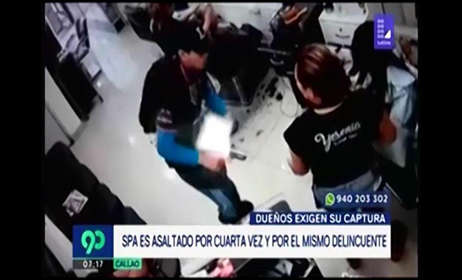 Delincuente entra a robar por cuarta vez a una peluquería. (Foto: Captura de video / 90 Matinal)