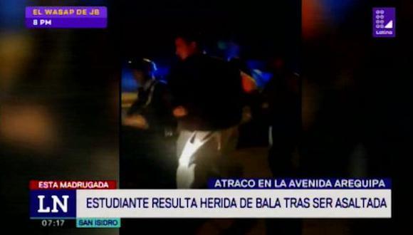 Estudiante fue herida durante asalto en San Isidro. (Foto: Captura 90 Sábado)