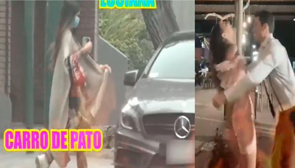 Luciana Fuster es ampayada en el auto de Patricio Parodi.