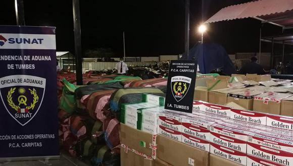 Tumbes: hallaron más de un millón de cigarrillos de contrabando transportados en encomiendas (Foto: Sunat)