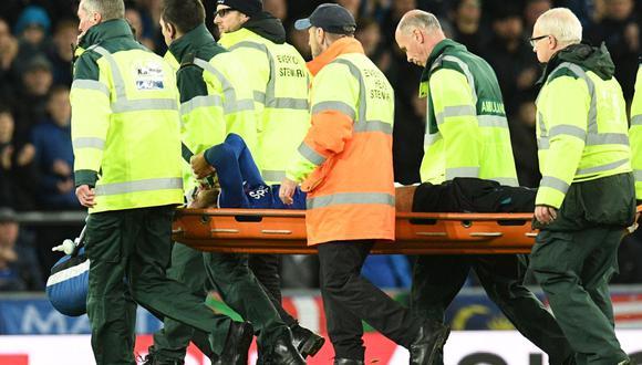 André Gomes sufrió una fractura en el tobillo derecho durante la disputa del duelo entre Everton y Tottenham por la Premier League. (AFP)