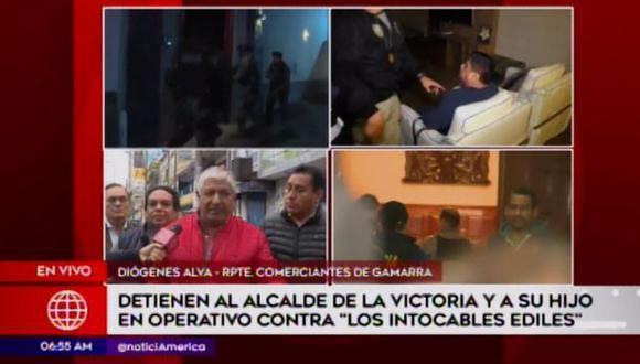 Diógenes Alva dijo que el municipio cobraba cupos. (Foto: Captura América Noticias)