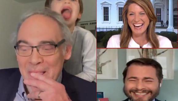 El pediatra Irwin Redlener y su nieto se han vuelto virales en las redes sociales tras protagonizar este divertido momento durante un programa en vivo. | Foto: MSNBC