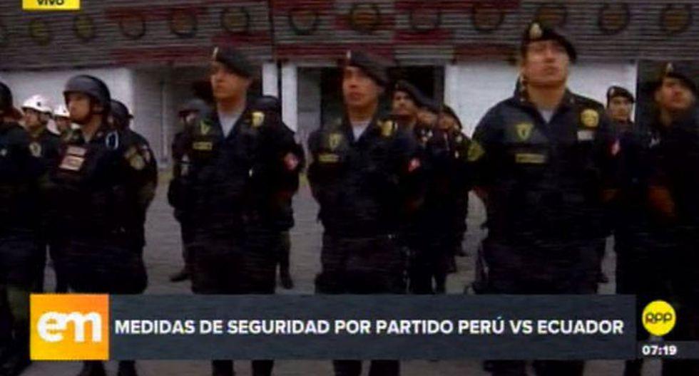 Seguridad policial en el partido Perú - Ecuador. (Foto: Captura de video / RPP Tv)