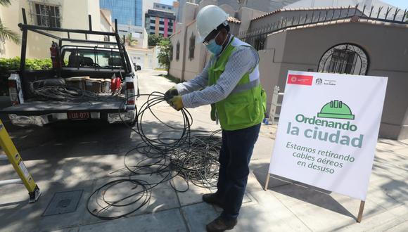Tras demanda y solicitudes de los vecinos, la Municipalidad de San Isidro ha retirado un aproximado de 43 mil metros lineales de cableado aéreo en desuso.