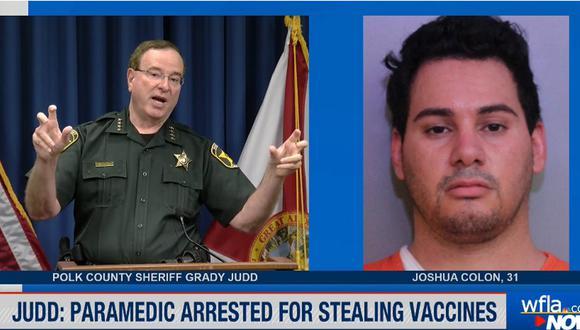 Joshua Colon, de 31 años, está acusado no solo de robar las vacunas, sino de rellenar los documentos necesarios para vacunarse a nombre de otras personas y de brindar información falsa. (Foto: captura WFLA)
